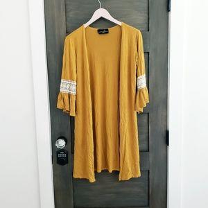 Rust orange crochet lace cardigan Sz M